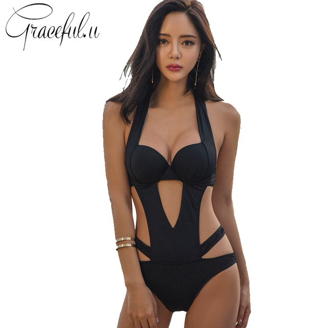 444621ac082 Bandage Bikini 2017 One Piece Swimsuit Women Bathing Suit Trikini Plus Size  Swimwear Push Up Monokini Beachwear