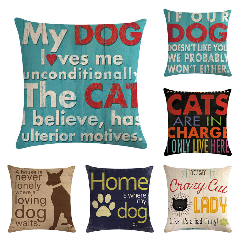 45cm 45cm Letters Of Cats And Dogs Pattern Linen Cotton Throw Pillow Covers Couch Cushion Cover Home Decorative Pillows Cushion Cover Aliexpress