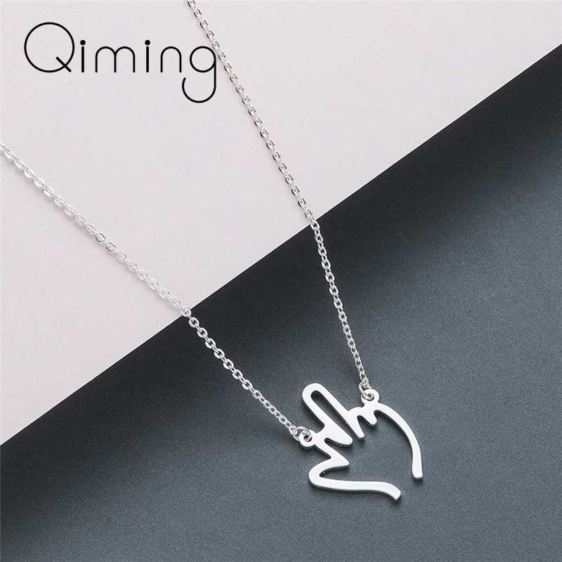 Middle Finger Gesture Necklace Women Vintage Design Silver Stainless Steel Vintage Necklace Best Gift Cute Jewelry For Men