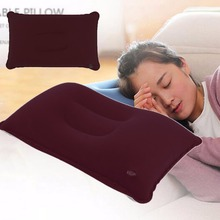 Outdoor Portable Folding Air Inflatable Pillow Double Sided Flocking Cushion for Travel Plane Hotel new arrival