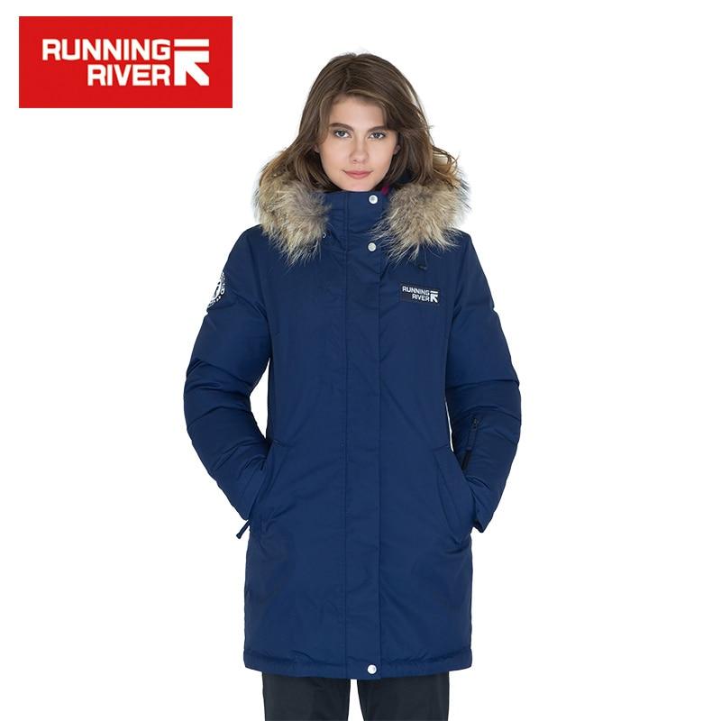 RUNNING RIVER marque femmes mi-cuisse hiver randonnée & Camping doudoune 10 couleurs 5 tailles à capuche Sports de plein air manteau # D6161