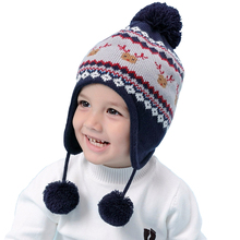 Toddler Baby Boys Christmas Hat Boy Winter Hat Warm Deer Knitted Ski Cap Children for 6 Month To 8 Years Old Kids Gift 2018 new cool photography fedora cotton hats 2 6 years best gift to children child jazz hat jazz toddler kids baby boy girl cap