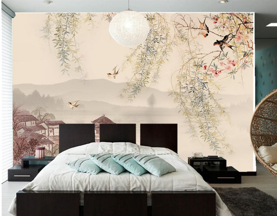 Custom 3d mural willow tree swallows the traditional for Decorative mural painting