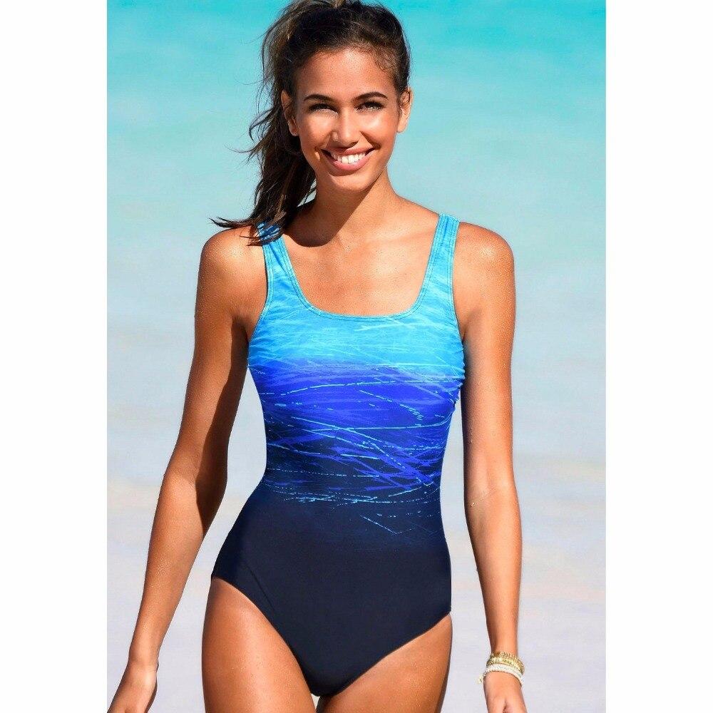 Gradient One Piece Swimsuit Women