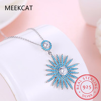 MEEKCAT High Quality Original 925 Sterling Silver Sunflower Pendants Necklaces Fashion Women Jewelry Christmas Gifts