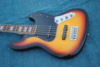 Factory custom 20 frets 5 strings tobacco sunburst electric bass guitar with black pickguard,can be changed