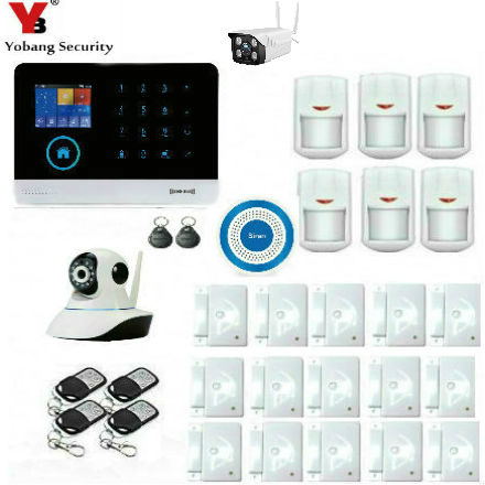 YoBang Security SIM GSM Thuis RFID Inbreker LCD Touch Toetsenbord WIFI GSM Alarmsysteem Sensor kit Russisch, spaans Voice chopard madness
