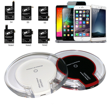 New Universal QI Wireless Charger Charging Pad with Receiver Blue Light Crystal for Samsung Galaxy S3 S4 S5 Note 2 Note 3 Note 4