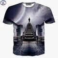Mr.1991 новый 2017 летний стиль с коротким рукавом дети футболка для девочек galaxy Fantasy 3D печатных детская футболка подростков DT9