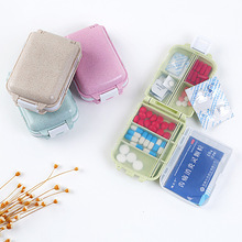 Plastic Storage Box Pills Case Medecine Organizer Wheat Straw Sealed Small Pill Environmentally Friendly 10x3.8cm