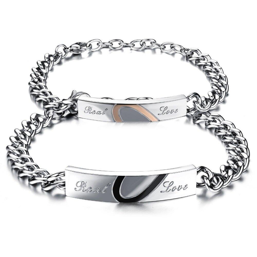 Оптовая Продажа Новые Модные любящая пара браслет titanium покрытие черного цвета розового золота Hearttex подарок ко Дню Святого Валентина GSK722