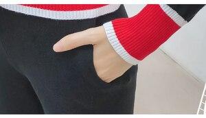 Image 5 - 2019 outono nova chegada conjuntos de moda feminina casual sólido decote em v tricô cardigan botão camisola e calças casuais s88107y