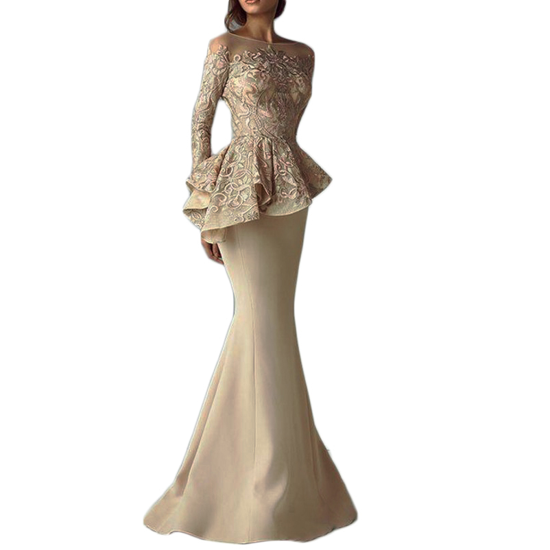 6e88305160 Detail Feedback Questions about Champagne Lace Stain Peplum Long Evening  Dresses Sheer Neck Robe De Soiree Long Sleeve formal dress Elegant Mermaid  Prom ...