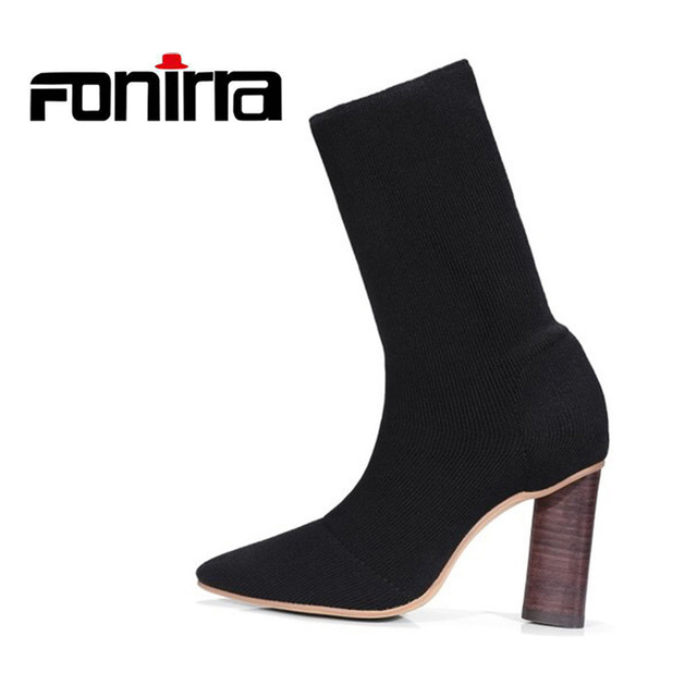 8dc8aa1aceeb FONIRRA Women Short Ankle Boots Chunky Block Heel Pointed Toe Knitting Boots  Fashion Stretch Sock Booties for Women 661