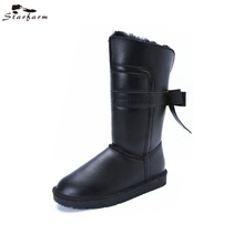 STARFARM Bowknot Wool Boots Warm Ankle Boots Leather Bootie Winter Snow Boots Russian Boots Women Shoes Woman in Black Grey Tan