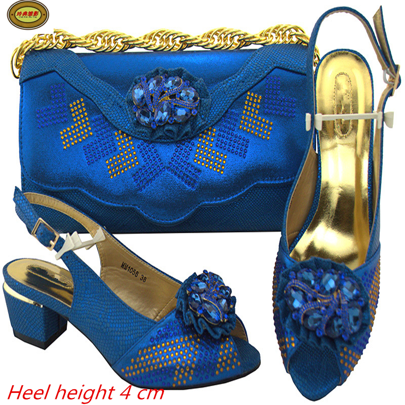 MM1058  Nice Royal Blue Wedding Shoes High Heel And Bag Set Good Looking Ladies Shoes Matching Bag Set With Stone Online nx7 28adr plc very new looking and in good condition