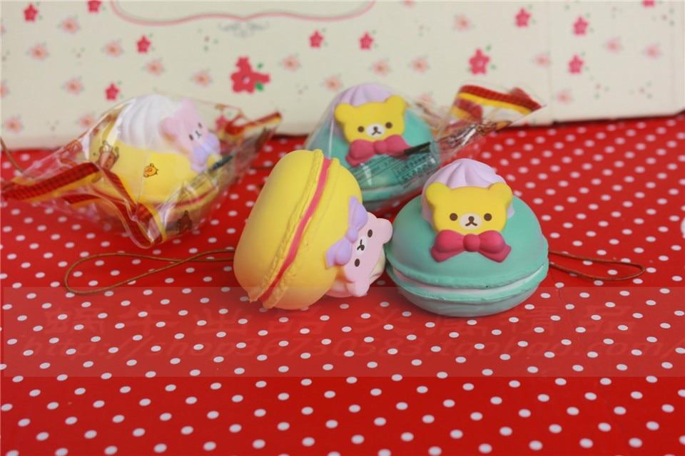 5 cm original kawaii squishy Rilakkuma Macaron kage queeze legetøj - Mobiltelefon tilbehør og reparation dele - Foto 3