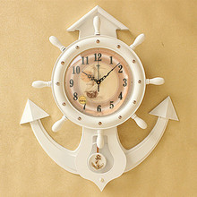Rudder anchor creative personality European style wooden hanging clock quartz mute Retro Clock Watch fashion large living room w