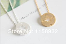 Fashion Gold Color silver necklaces simple compass necklaces for women-Free Shipping