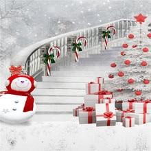 5x7ft Kate Christmas Backdrops Photography White Snowman Gift Box Photo Studio for Children White Ladder Frozen Snow Background