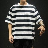 2019 Striped shirt hip hop t shirt japanese streetwear modis tshirt men harajuku 5XL oversized fashion clothing tee shirt homme