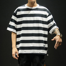 2020 مخطط قميص الهيب هوب تي شيرت اليابانية الشارع الشهير موديس القمم الرجال Harajuku 5XL المتضخم ملابس عصرية المحملة أوم