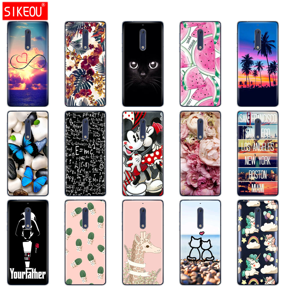 Silicone phone Case For <font><b>Nokia</b></font> 5 3 <font><b>6</b></font> 7 8 9 <font><b>2017</b></font> case soft tpu cover full 360 protective shockproof new butterfly image