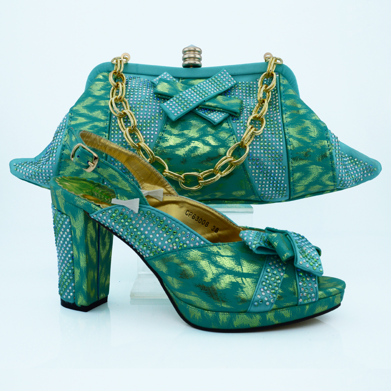 ФОТО CP63008 Green Woman Shoes and Matching Bags Set Summer Style High Heels Shoes And Bag Set For Party Free Shipping