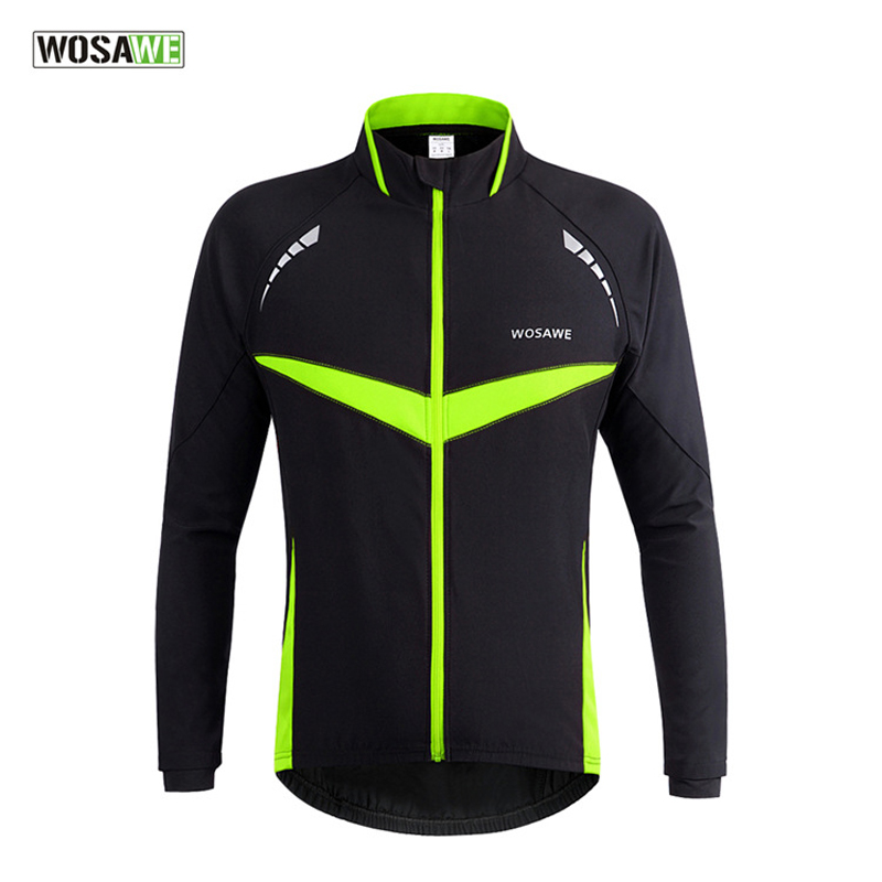 WOSAWE Cycling Jackets Men Women Long Sleeve Windproof Sports Jacket Running Riding Mountain Bicycle Bike Outer Wear Coat H2018