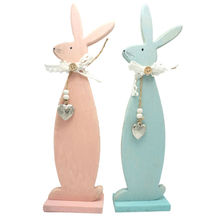 Easter decoration wood easter rabbit easter bunny 3.3in*1.6in*12in blue & pink home & garden wood craft free shipping