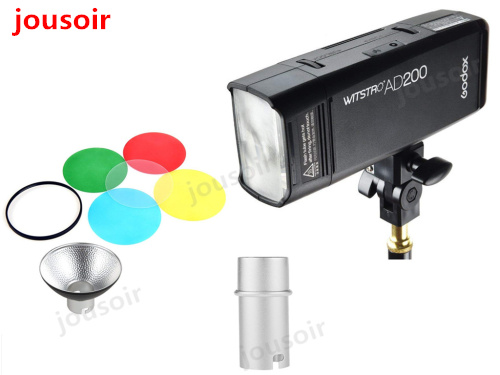 GODOX AD200 TTL 2.4G HSS 1/8000s Flash Light Double Head 200Ws with 2900mAh Lithium Battery with AD-M Standard Reflector CD50