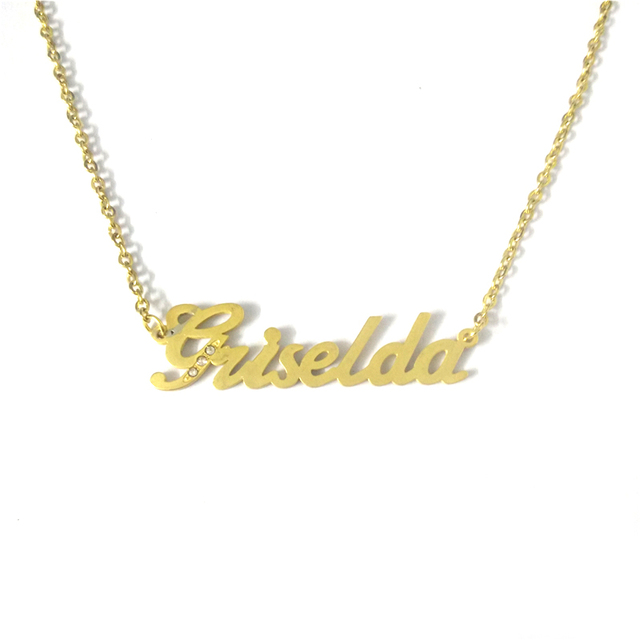 733aac1cd FairLadyHood Gold color Name Necklace