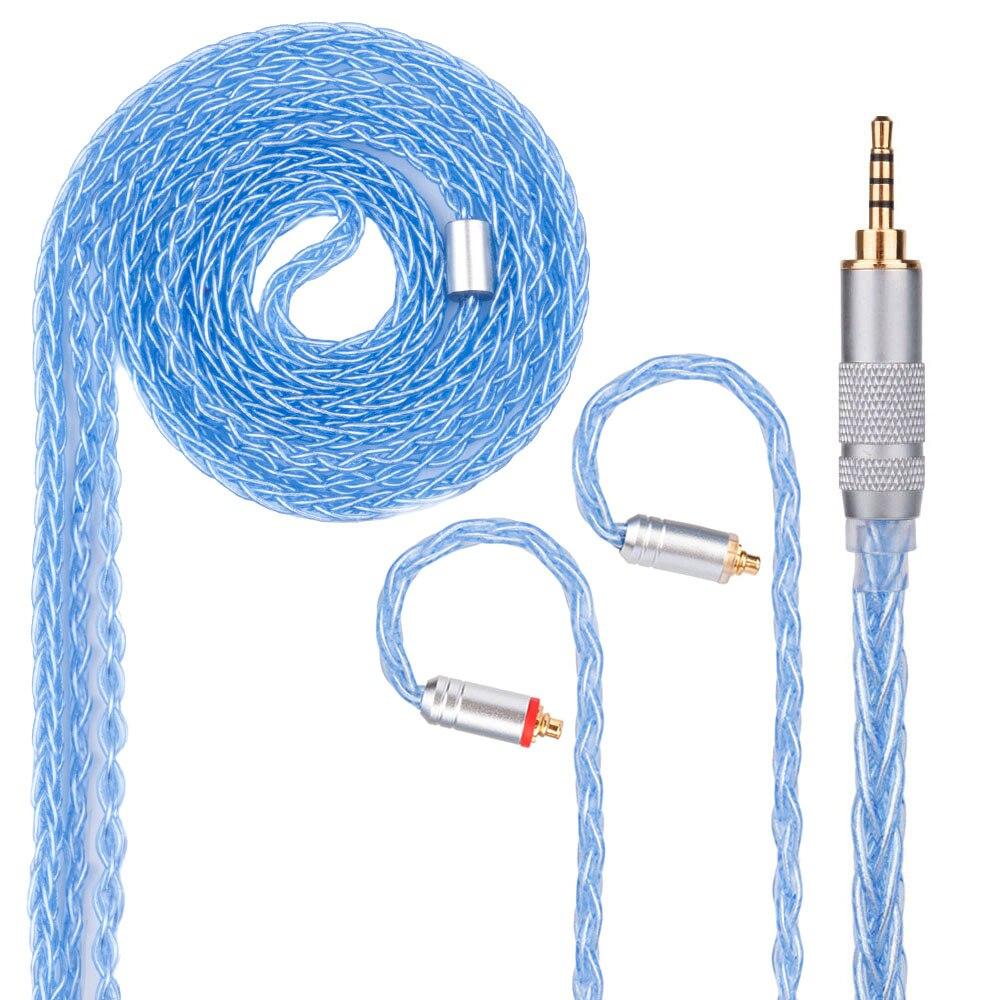 Yinyoo 8 Core посеребренный кабель 2,5/3,5/4,4 мм синяя кабель с MMCX/2pin разъем для QT2 LZ A5 Magaosi K5 V20 sony HQ5 HQ6