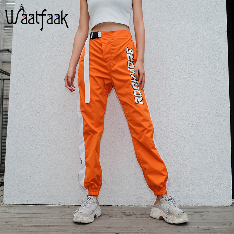 Image 3 - Waatfaak Casual Patchwork Pencil Pants High Waist Buckle Belt Trousers Women Orange Zipper Pocket Sweatpants and Joggers Fitness-in Pants & Capris from Women's Clothing