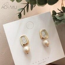 9c0231678623 AOMU 2019 Corea estilo dulce cuadrado geométrico redondo de Metal de oro de  mármol pendientes para el regalo de las mujeres de l.