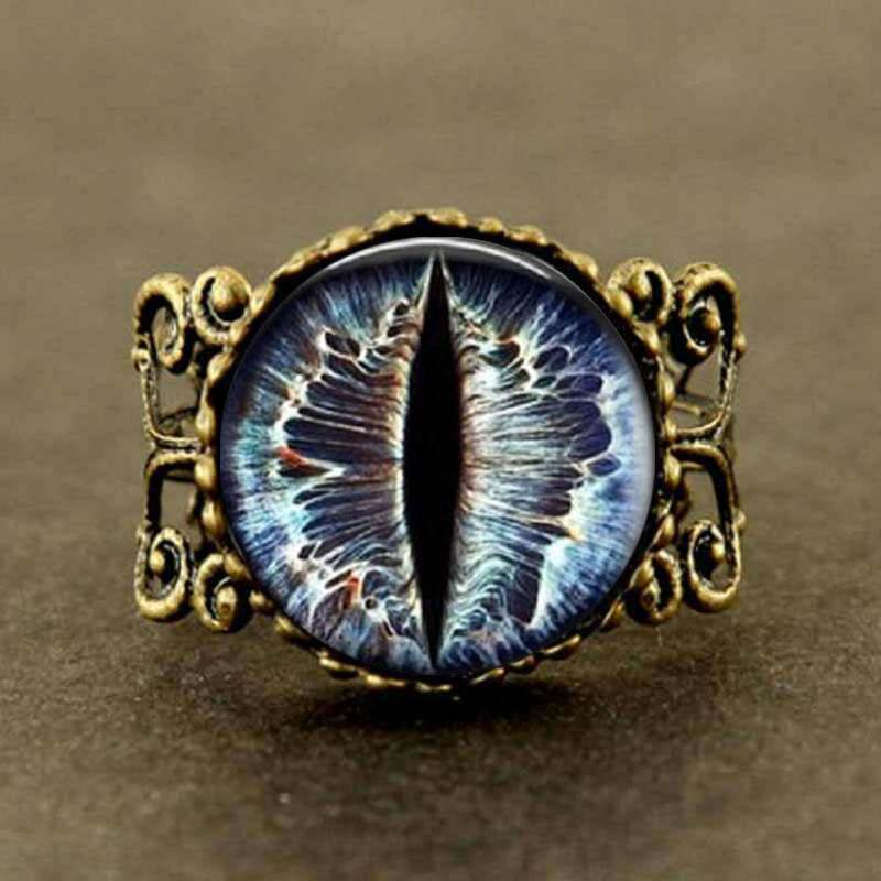 Qiyufang Jewelry Steampunk Vintage Cat Eye Ring Dragon