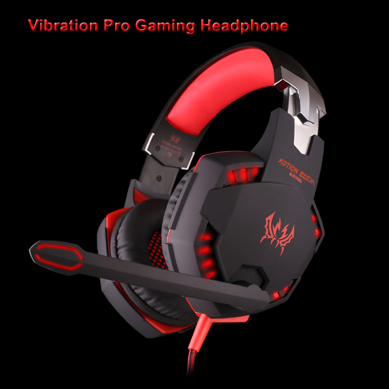 G2100 Computer Vibration Gaming Headphone Wired Over-Ear Noise Canceling Gamer Headset With Microphone LED For PC kingston hyperx gaming headphone noise isolating game headphone headset with microphone for headphone gamer khx hscd bk as