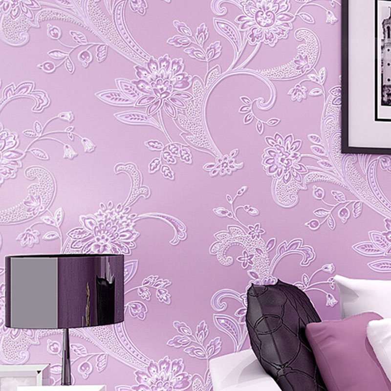 European Style Simple 3D Stereoscopic Floral Embossed Damask Wallpaper Living Room Bedroom Non-woven Mural Wall Paper Roll Size