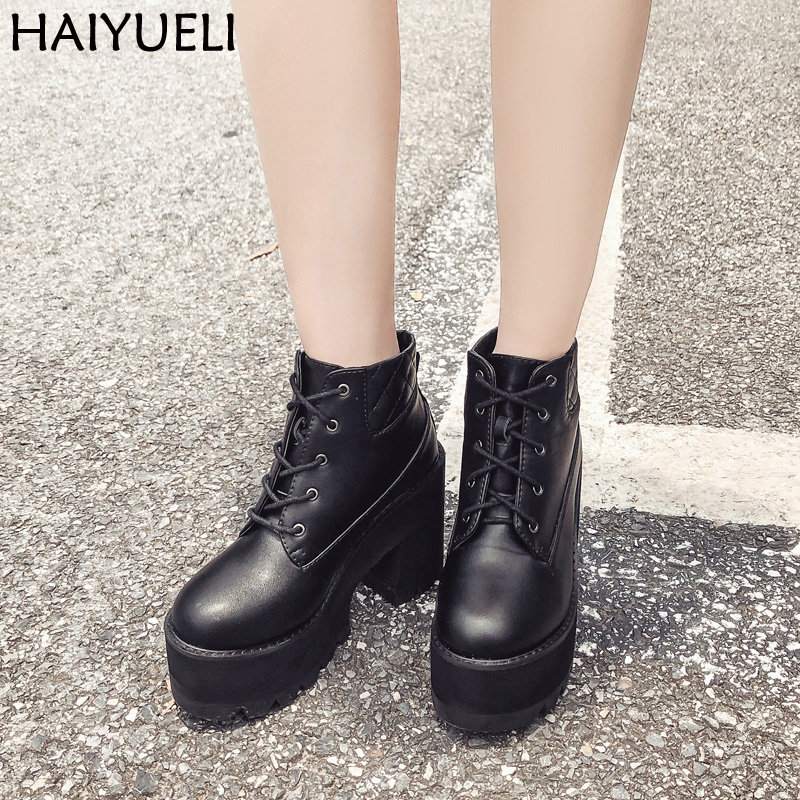 Lace Up Round Toe Platform Shoes Casual Thick Heel Ankle Boots For Women High Heels Autumn Woman Shoes Black Punk Boots womens punk ankle boots chunky heels platform side zip leather moto shoes woman high heel thick heel platform motrocycle boot