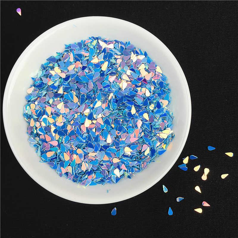 Biru Payet 10G/Banyak 3 Mm Oval DROP Bentuk Payet PET Glitter Paillettes Pesta Kerajinan DIY Nail Art pernikahan Dekorasi Confetti