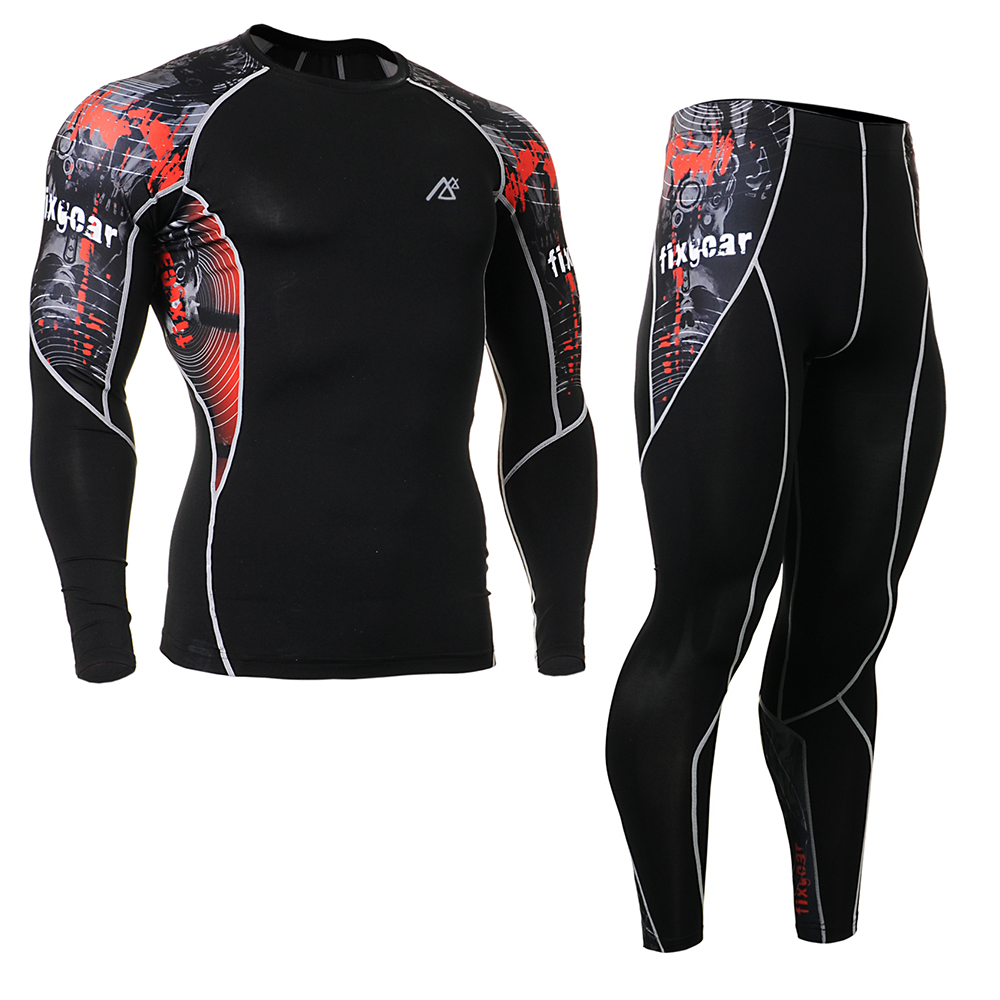 High Quality Men's Compression Shirt & Pants Set Long Sleeve Fitness Clothes Ballgame Sports Base Layer Male Gym Outfit Tights 17 18 newest hulk bike jerseysman batman compression base layer tights men thermal long sleeve tee shirts sports jerseys fitness