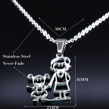 Unisex Family Necklace Jewelry Necklaces Women Jewelry Metal Color: 1mom 1 girl