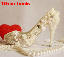 Luxury crystal women's high-heel platform shoes banquet  dress shoes plus size flower pearl wedding shoes formal dress shoes