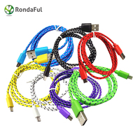 1m 2m 3m Hot Sell Nylon Braided Fabric Micro USB Cable Charger Data Sync USB Cable