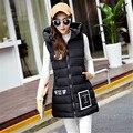 Women  Winter Vest Waistcoat Zipper Slim Vest Sleeveless Long Jacket chalecos mujer Hooded Down Cotton Warm Pockets coletes