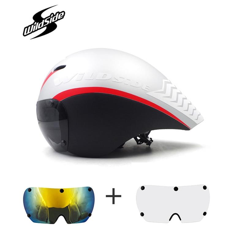 New TT Bicycle Helmet Aero racing With Glasses cycling helmet Sports Safety Helmet Triathlon Bike helmet