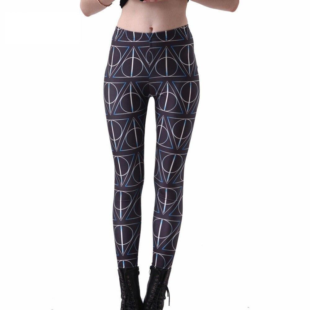 93660a7ef Engraçado Deathly Hallows Leggings Mulheres de Slim fina selvagem Impressos  Calças de Boa Qualidade Capris Frete grátis