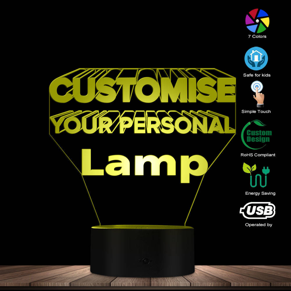 Personalized Illuminated 3D Lamp LED Lighting Modern Custom 3D Light Optical Illusion Lamp Home Decor Gift Idea Design Your Lamp
