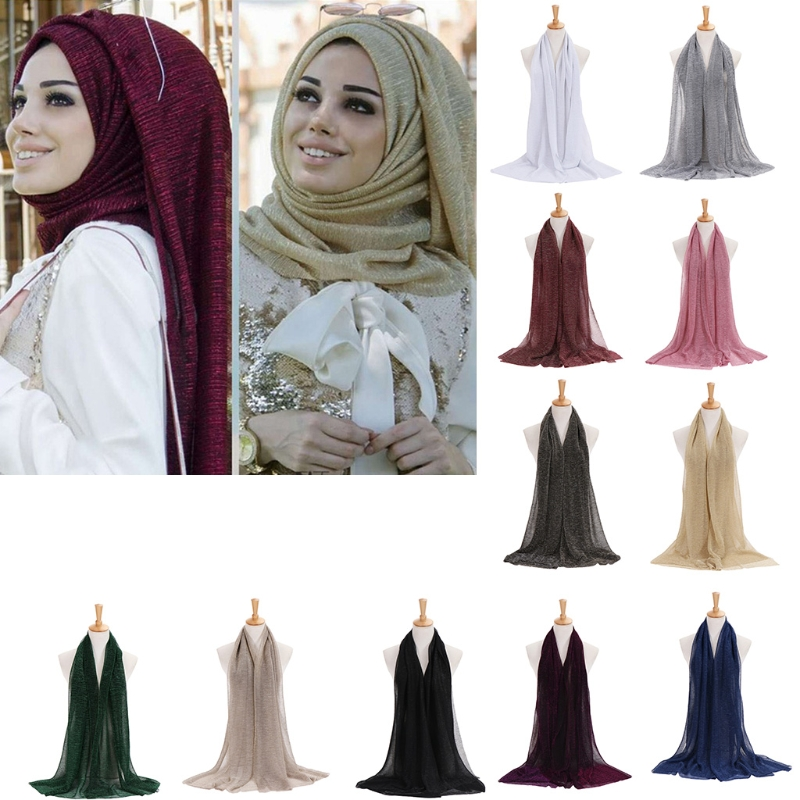 Shimmer Sparkle Rhinestone Wedding Party Scarf Shawl Wrap Hijab Turban Versatile