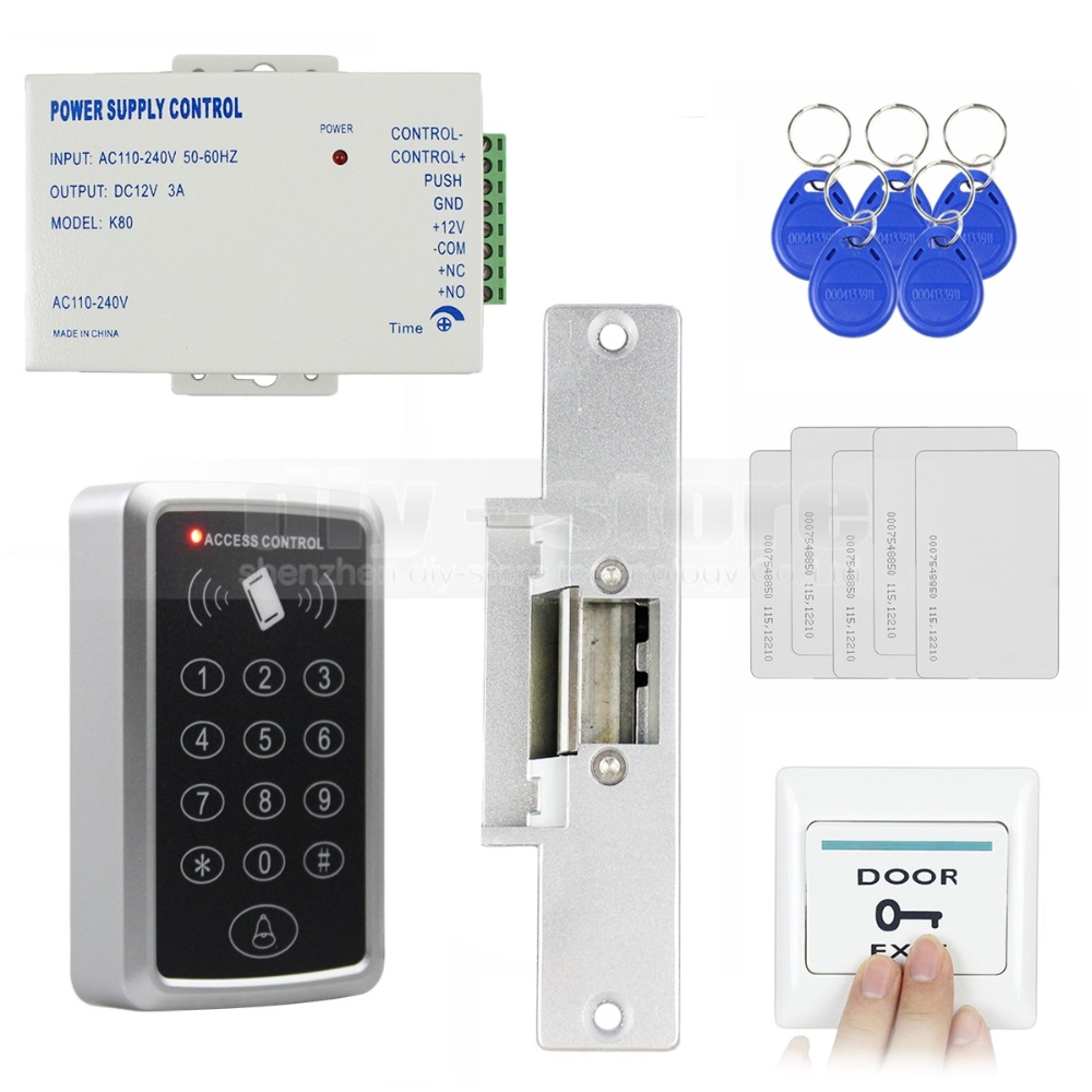 DIYSECUR 125KHz RFID Reader Password Keypad Access Control System Full Kit Set + Electric Strike Door Lock + Power Supply s 108 no power 1000 set password trouble free 3 digit number cabinet lock access control system password lock hook